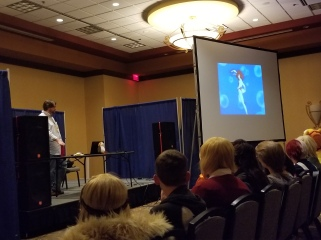 Tobias showing DAICON IV to a packed house